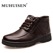 MUHUISEN Brand Genuine Leather Snow Boots Men Casual Shoes Winter Warm Plush Fur Cow Leather Male Ankle Boot