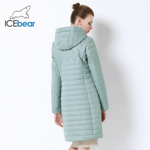 Image 4 - ICEbear 2019 nowa damska kurtka wysokiej jakości z kapturem na jesień płaszcz damski odzież bawełniana jednorzędowy średniej długości GWC19067I