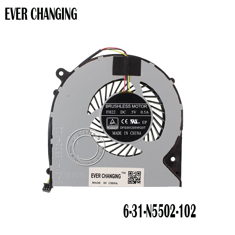 US $11 04 8% OFF|COOLING REVOLUTION New CPU Cooling Fan For CLEVO N350DW 6  31 N5502 102 FH22 DFS551205WQ0T-in Fans & Cooling from Computer & Office on