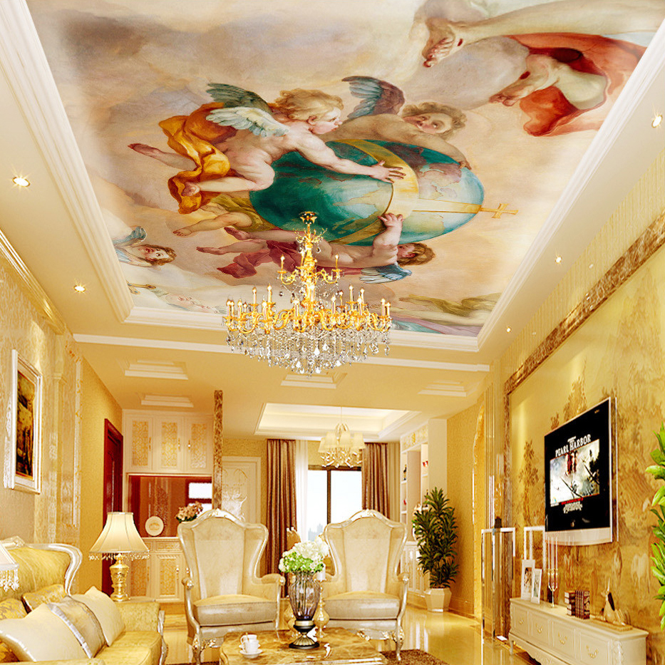 Custom 3D Mural Wallpaper Cute Angel Living Room Bedroom Ceiling ...