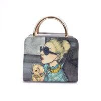 People Pattern Women Bag Fashion PU Leather Women Leather Handbag Casual Women Shoulder Bag Fashion Female High Quality