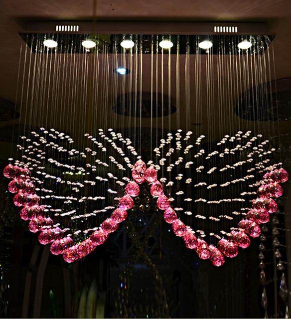 Modern Purple Crystal Heart Chandelier Wedding 18w Gu10 Led Spot Light Lamp Pink