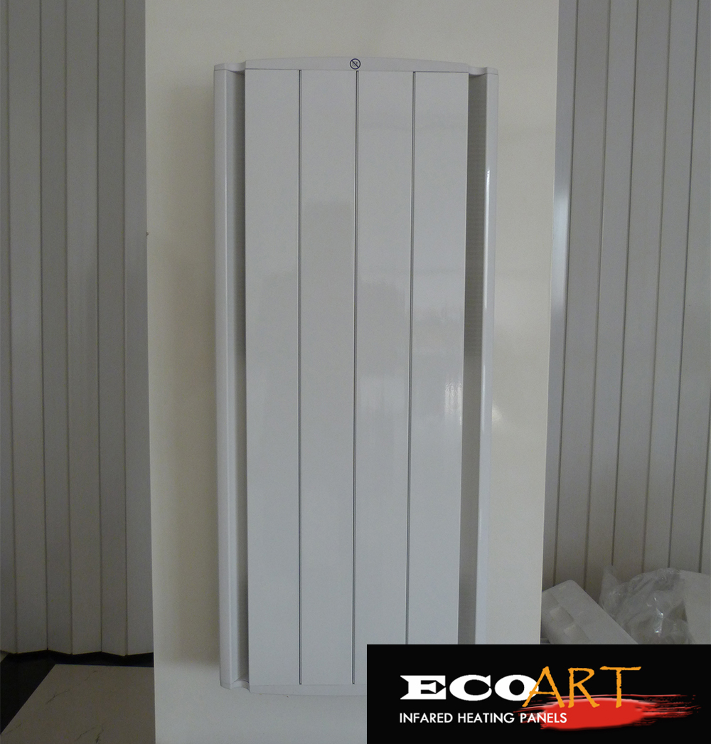 1000W Vertical Wall Mounted Aluminium Electric Radiator Storage Heater with built in LCD electric thermostat