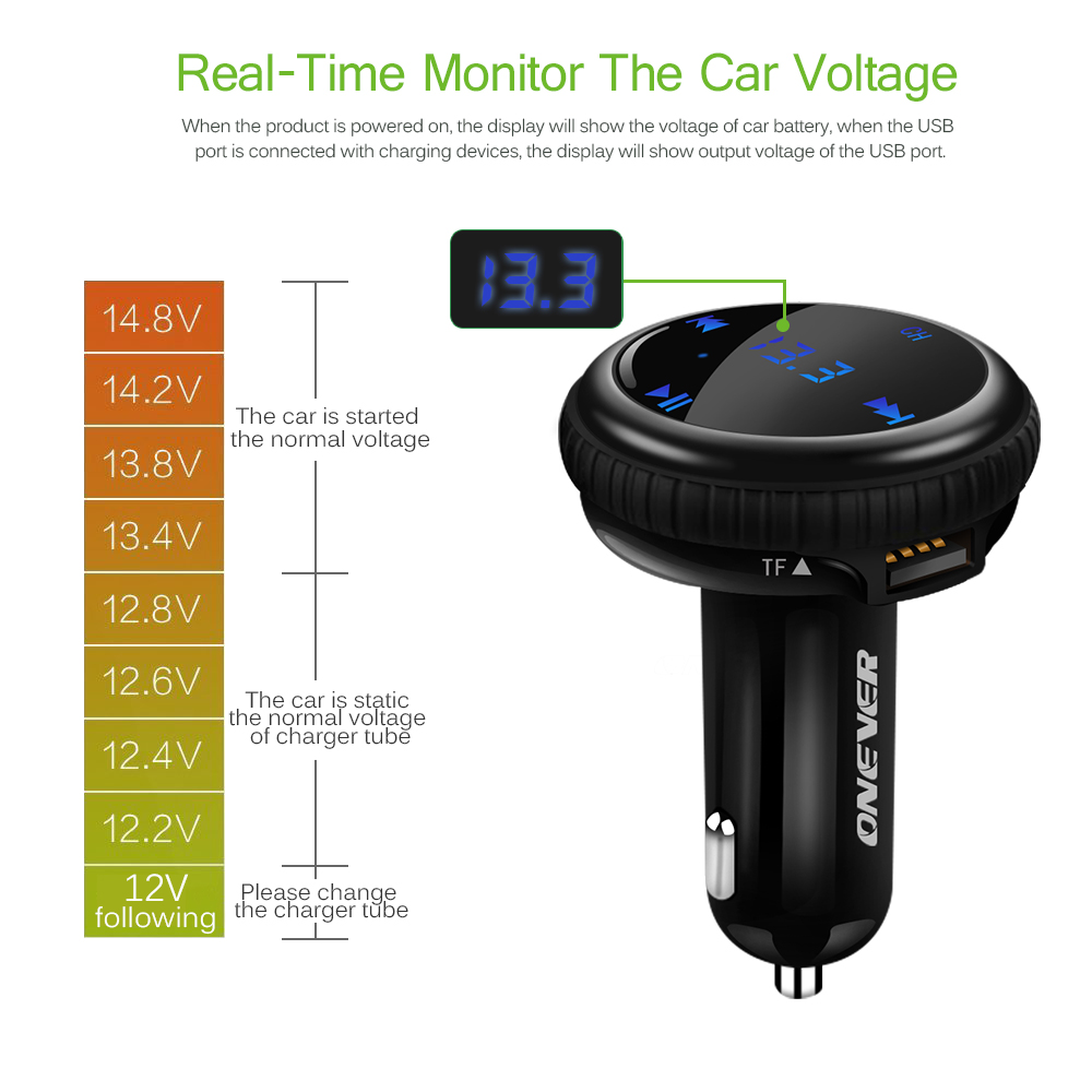 Onever Bluetooth Car Kit Music Player Fm Transmitter Modulator Tracking Gps Finder Locator 21a Dual Usb Charger In From