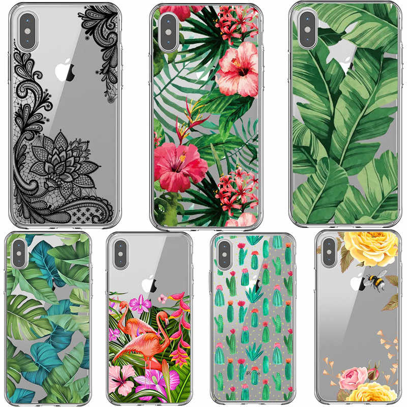 Zomer cactus Marmer Telefoon Case Voor iPhone X XS Max XR Soft TPU Cover Voor iPhone 7 8 Plus 6 6sPlus SE 5 5s Case kant Coque Funda
