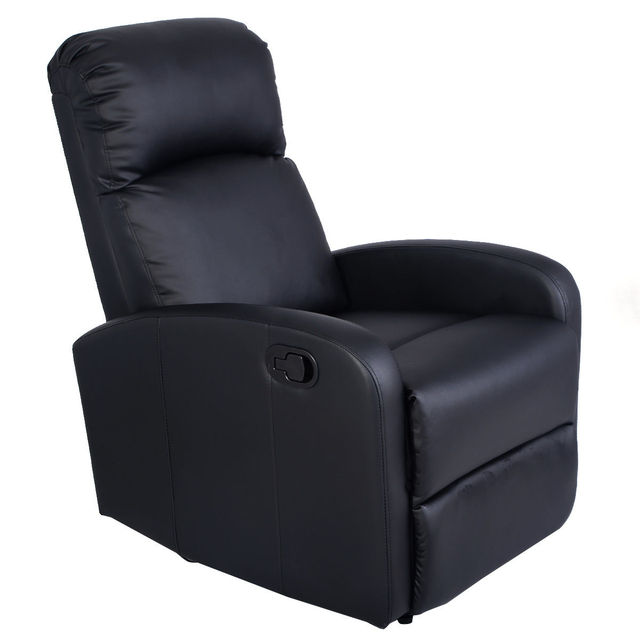 Giantex Manual Recliner Sofa Chair Black Home Living Room Lounger