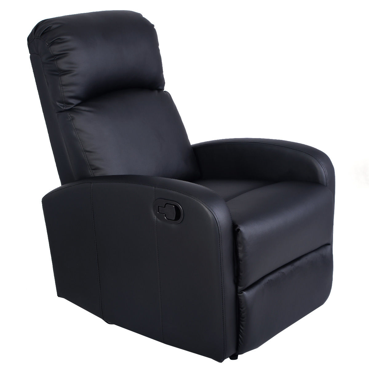 Giantex Manual Recliner Sofa Chair Black Home Living Room Lounger Leather Sofa Seat Theater Leisure Recliner Single Sofa HW51431