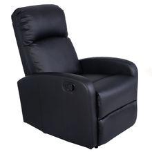 Giantex Manual Recliner Sofa Chair Black Home Living Room Lounger Leather Sofa Seat Theater Leisure Recliner Single Sofa HW51431