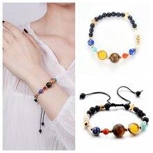 Natural Lava Rock Stone Beads Strand Bracelet Wooden Bead Accessories Black Men/Women Jewelry Gift