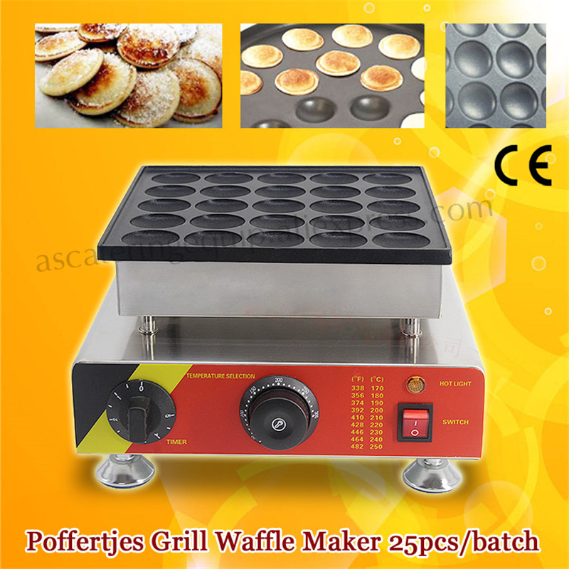 Commercial Mini Dutch Pancake Machine 25pcs Poffertje Grill Baker Stainless Steel with Nonstick Pan Brand New