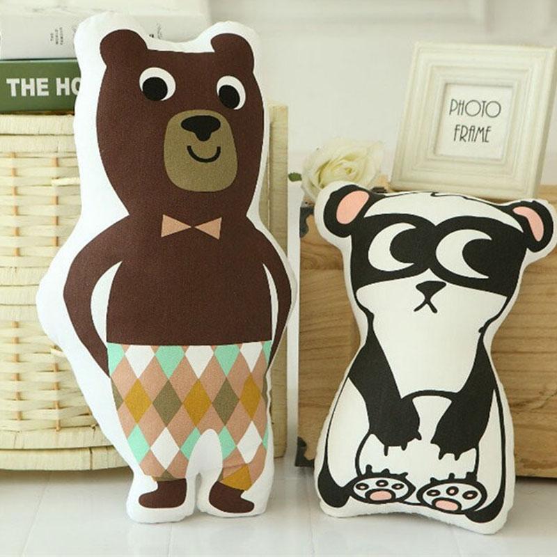 Nooer Free Shipping Stuffed Cotton Bear Robot Panda Pillow Stuffed Plush Doll Toy Sofa Bed Cushion Kids Children Birthday Gift