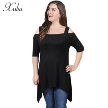 Xuba New Fashion Summer Slash neck Ladies Black T-shirts For Women Casual Long Female Solid Loose Clothing White Tops Tee ZK50