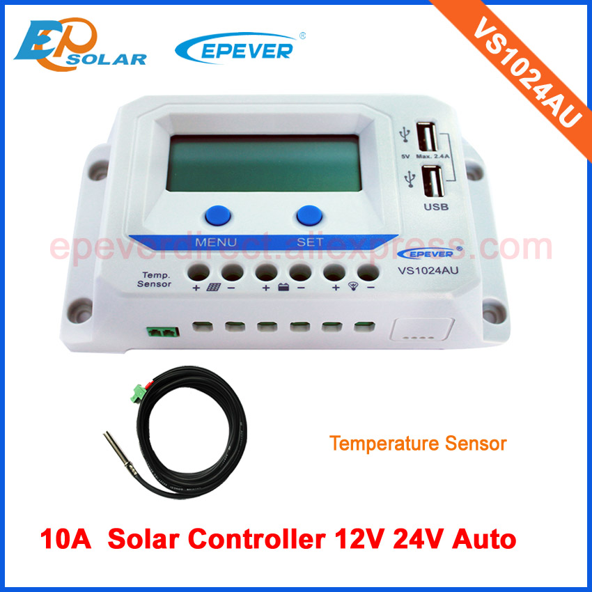 12V/24V auto work 10A 10amp VS1024AU PWM with temperature sensor Solar Panel Battery Controller 12v 24v auto work tracer1215bn for 12v 130w solar panel home system use 10a 10amp with wifi function usb cable and mt50