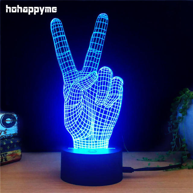 Victory Gestures Led Light Sign Acrylic Home Decor Gift Bar Panels Plate Plaques
