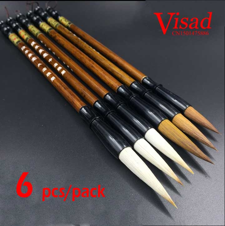 6 Pcs Mixed & Weasel Hair Chinese Brush Lake pen set weasel hair gold pen art supplies Chinese brush6 Pcs Mixed & Weasel Hair Chinese Brush Lake pen set weasel hair gold pen art supplies Chinese brush