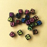 Toptan 2800 Adet/grup 6*6 MM Küp Akrilik Neon Renkler Yüzleri Gülümseyen Yüz Boncuk ile Siyah 3D Kare Takı Spacer Boncuk DIY için