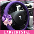 Ladycrystal 15 inch Car Steering Wheel Cover Non Slip Wheel Soft Fabrics For BMW For Audi Auto Interior Decoration Accessories