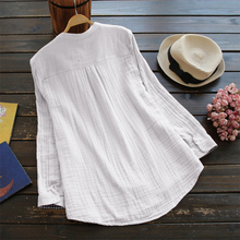 Top Fashion 2018 ZANZEA Casual V-Neck Long Sleeve Loose Blouse Women Spring Solid Cotton Linen Baggy Work Office Shirts Vestido