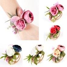 Women Rose Flower Bracelet Fashion Wedding Bride Bridesmaid Wrist Corsage Hand Flowers