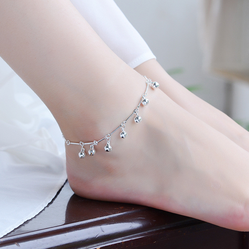 TJP Top Quality 925 Silver Anklets For Women Jewelry Fashion Bamboo Chain Bells Girl Bracelets Lady Party Accessories Christmas