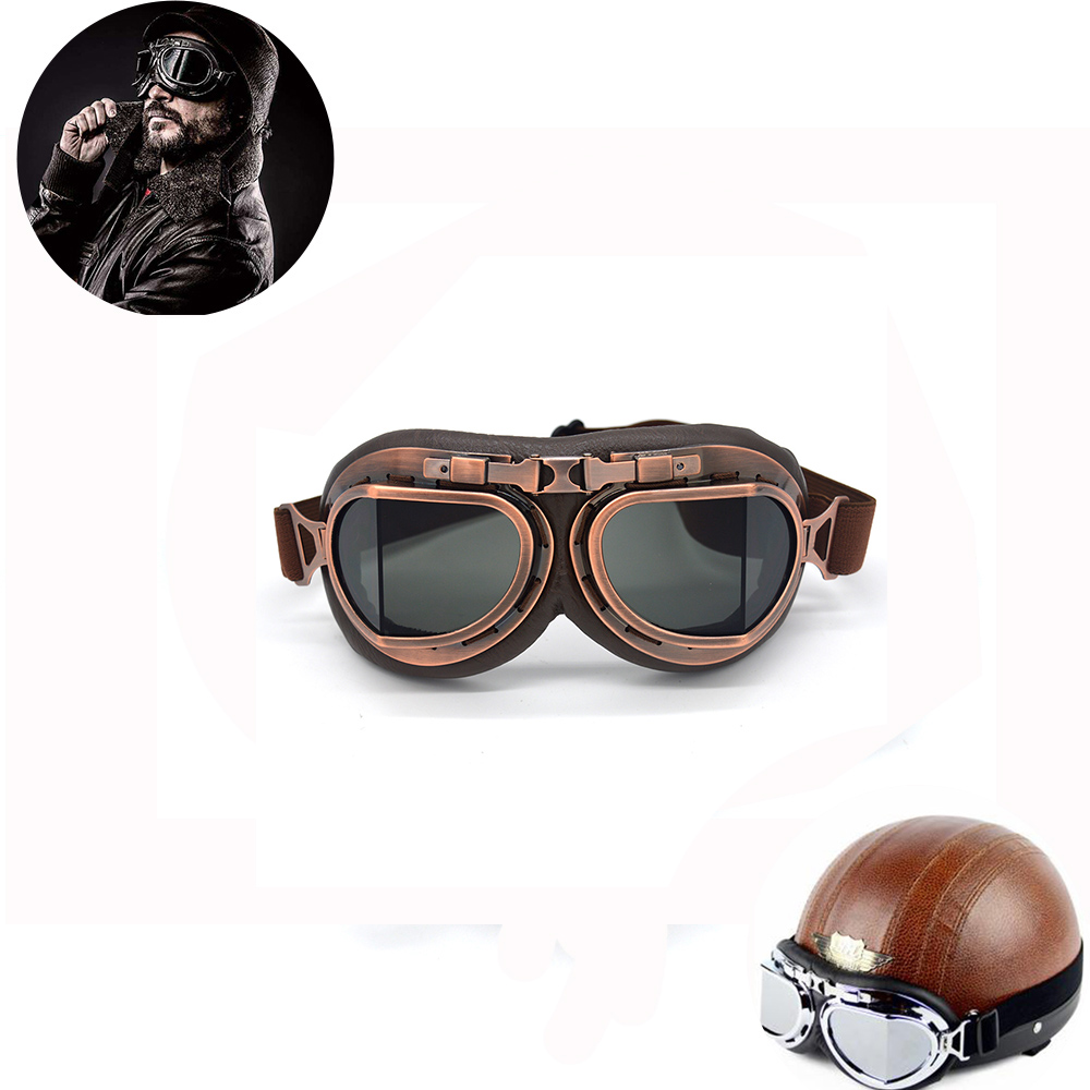 Motorcycle Goggles Motocross Helmet Goggles Steampunk WWII Retro ATV Cruiser Off-Road Eyewear Googles Skating Goggles