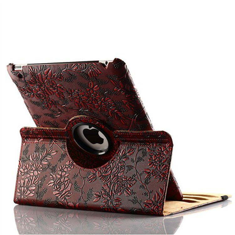 2017 New Girl Flower PU Leather Rotating Case Smart Cover Stand For APPLE Ipad 5 Ipad Air 5Th Gen Case Tablet Case Grape Pattern