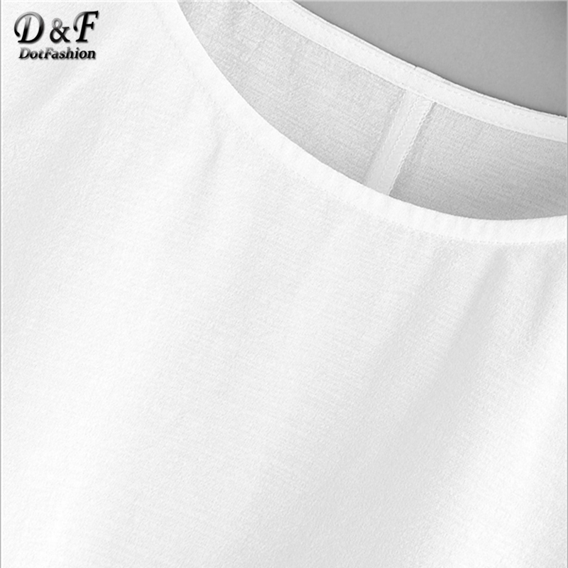 ae863b9fc571b7 Dotfashion White Ruffle Sleeve Babydoll Blouse Solid Round Neck Short  Sleeve Top 2019 Summer Women Cute Blouse-in Blouses & Shirts from Women's  Clothing on ...