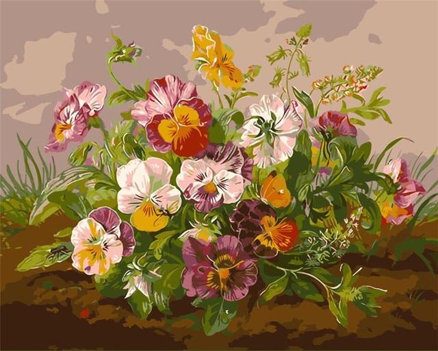 Fresh Flowers Picture Diy Digital Oil Painting Flower Vase Quadros