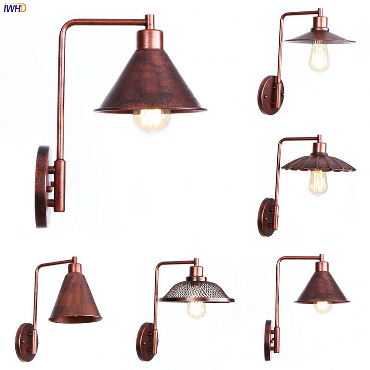 IWHD Rust Retro Vintage LED Wall Lights Fixtures Living Room Loft Style Industrial Ediso ...