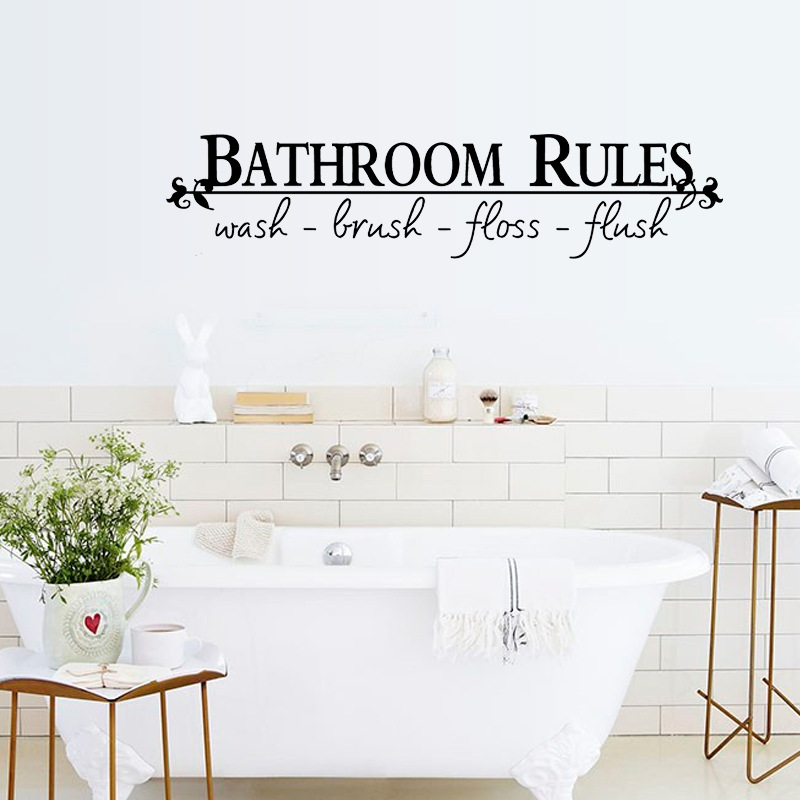 hot selling bathroom rules quotes wall stickers home decoration 8044. diy adesivo de parede removable vinyl decals mural art 4.0