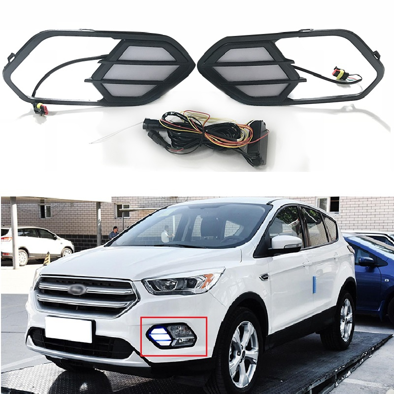 12V LED Daytime Running Light Daylight Fit For Escape Kuga 2016 2017 Turn Yellow Signal Relay Waterproof Cover Car DRL Lamp