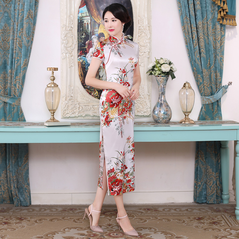 White Chinese Women Qipao Plus Size 3XL Vantage Print Flower Cheongsam Stain Long Slim Dresses Elegant Female Chinese Dress