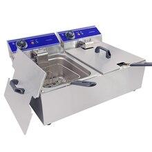 Лучшие 20 л электрические фритюрницы термостат управление нержавеющая сталь жарочная машина коммерческий бытовой куриные крылья картофель фри