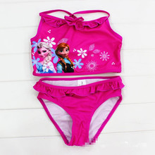 цена на Girl Swimsuit Elsa Anna Swimwear for Girls biquini infantil baby girl bathing suit kids bikini Children swimming suit 2-12T