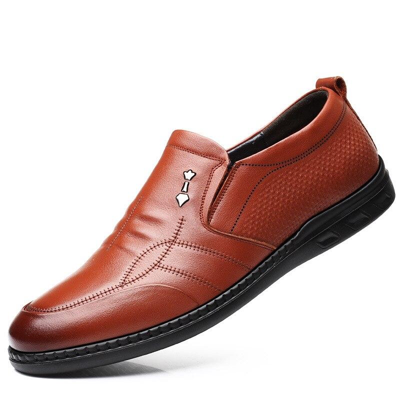 Sapatas Brown Fundo Dos Macio Redonda Novos Do preto Cabeça Desenhador Superfície Sapatos Homens Pai skid Couro Anti Único 3177 Genuínos De 1w7Hfaax