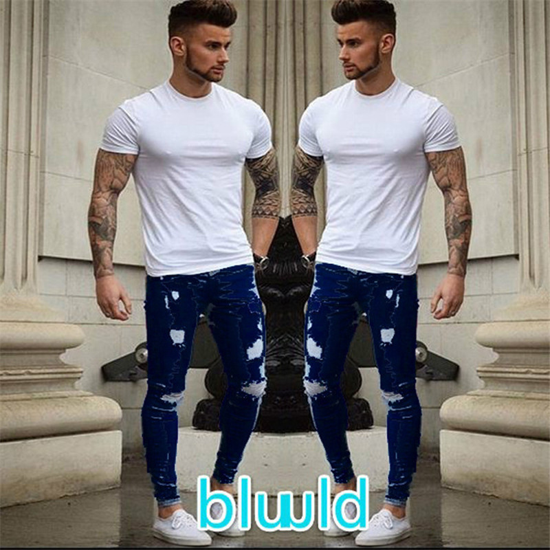 Summer 2019 New Men's   Jeans   Stretch Destroyed Ripped Fashion Ankle Zipper Skinny   Jeans   For Men Plus Size XXXL