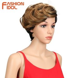 Image 4 - Moda IDOL krótkie faliste syntetyczne peruki do włosów Ombre 10 Cal Bob peruki dla czarnych kobiet żaroodporne peruki syntetyczne darmowa wysyłka