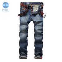 Autumn Winter New Fashion Mens Jeans Retro Design Stripe Pocket Denim Ripped Jeans For Men DSEL