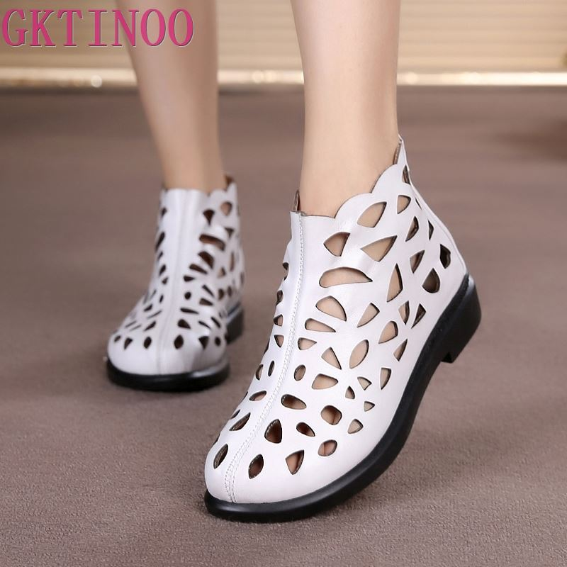 New Arrival Roman Women Sandals Cut outs Gladiator Low Heels Ankle Cool boots Genuine Leather Ladies