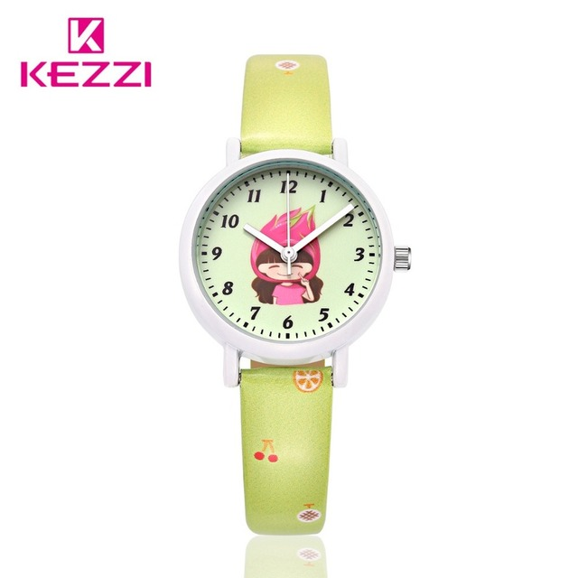 Design Children's DAY Gift Children waterproof Kezzi Cartoon Watch  Summer Fruit Leather Quartz Watches Durable JAPAN Movement