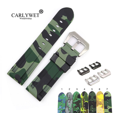 CARLYWET 22 24mm Camo Light Blue Black Waterproof Silicone Rubber Replacement Wrist WatchBand Strap Loop For Panerai Luminor