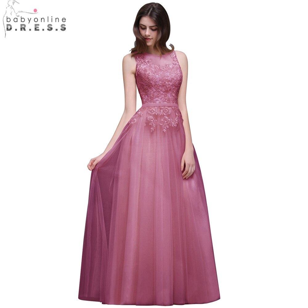 Babyonline In Stock Pink Royal Blue Long   Prom     Dresses   2019 Tank Appliqued Lace Chiffon Evening Party   Dress   vestido de festa