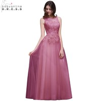 Babyonline In Stock Pink Royal Blue Long Prom Dresses 2018 Tank Appliqued Lace Chiffon Evening Party