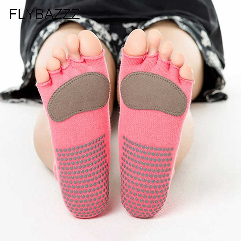 Women New Professional Yoga Socks Leather Cushion Gym Running Pilates Dance Socks Half Toe Non Slip Massage Sport Socks Cotton