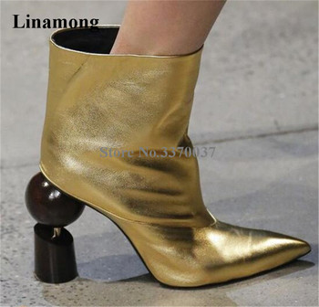 New Arrival Women Fashion Pointed Toe Strange Heel Slip-on Short Boots Sexy Gold White Ball Screws Chunk Heel Ankle Booties