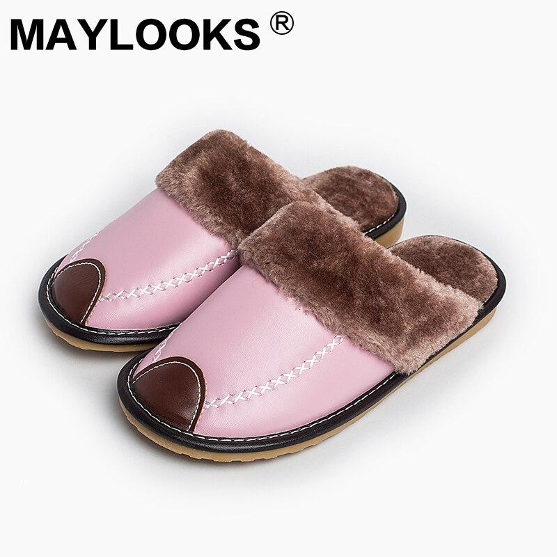 Női papucsok Téli Pu Bőr Otthon beltéri csúszásmentes termikus női papucs 2018 Új Maylooks M-8831