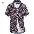 Лето мужская Цветочные Рубашки С Коротким Рукавом Нескольких цветов Гавайский Гавайи Slim Fit Рубашки Для Мужчин