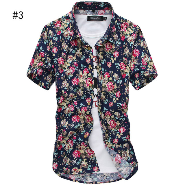 a90d28dde0e Summer Men`s Floral Shirt Short Sleeve Multi-colors Hawaiian Hawaii Slim  Fit Shirts
