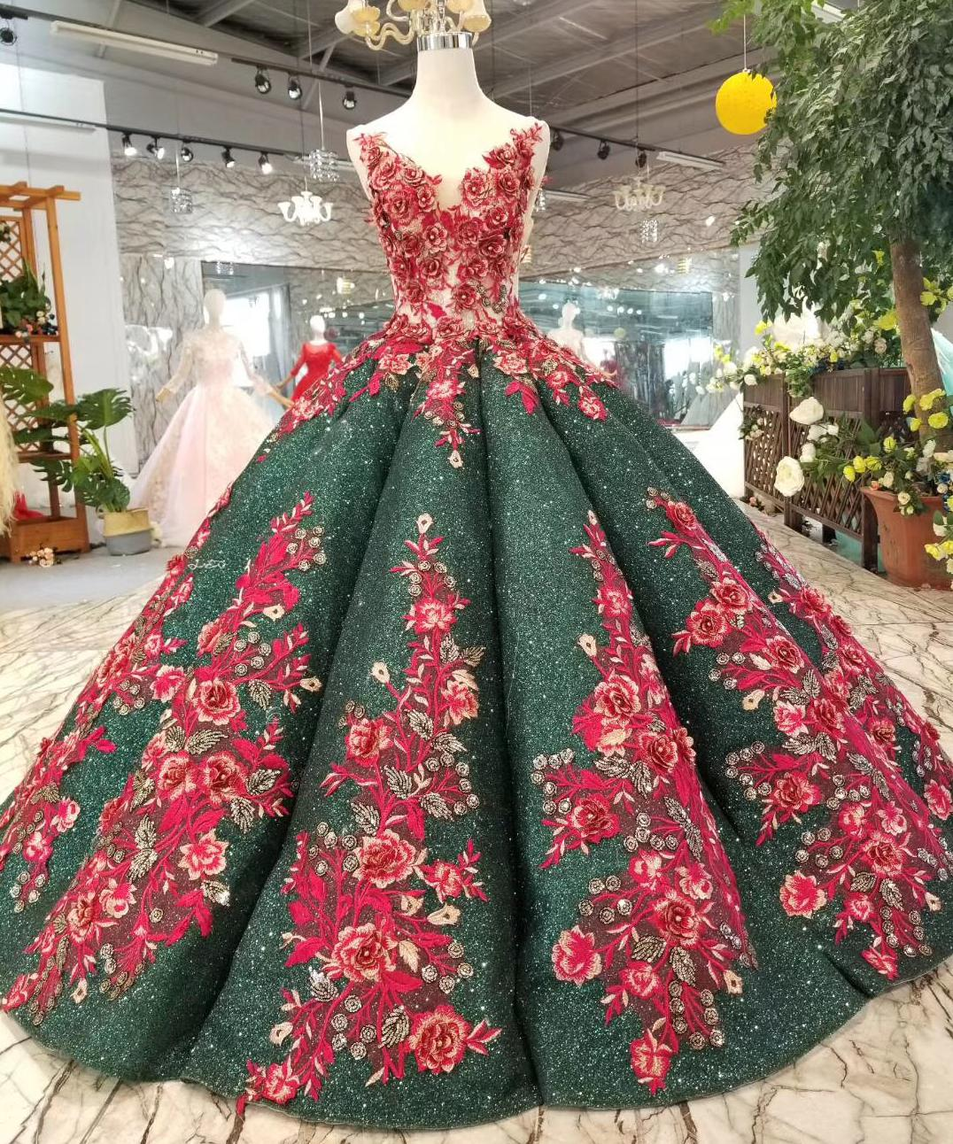 22984b79cd US $495.0 10% OFF|2019 Desamazing Omg Waves Long Evening Dress Ball Gown  Emerald Green Lace Red Wedding Party Gowns 2018 Red Formal Prom Dresses-in  ...