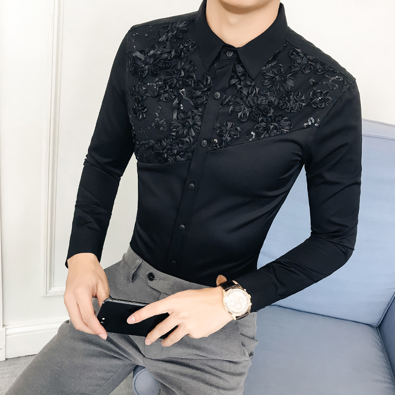 British Style Hotel Wind 2018 Autumn And Winter Korean Man Long Sleeve Shirt Lace Lace Split Joint Hairstyle Division